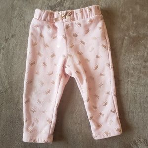 Girls Pink & Gold Crowns Patterned Pants